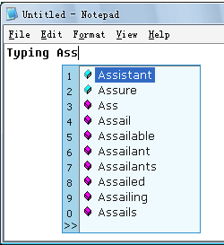 Typing Assistant, Sumit Software, Auto-complete typing, speed typing software, k